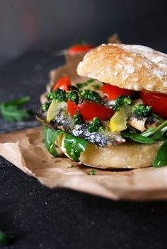 Sardine and Lemon Sandwich with Ramp Pesto and Cherry Tomatoes ° eat in my kitchen