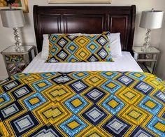 African Duvet Cover and Sham Set Marimekko Bedding, Duvet Cover Sets, Bedroom Ideas, Master Bedroom, Ethnic, African, Decorations, Blanket, Blue