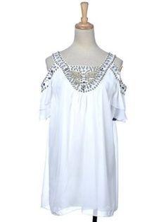 a7a91d565c Anna-Kaci Free Size Cotton White Egyptian-Inspired Open Shoulder Goddess  Dress Amazon Clothing