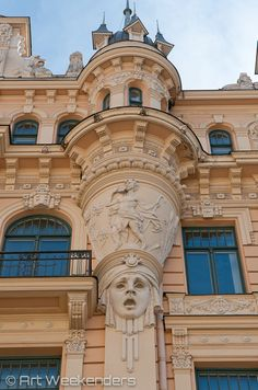 Art nouveau in Riga, Latvia. Our first impressions from our visit: http://blog.artweekenders.com/2014/05/23/first-impressions-visit-riga/ #riga #latvia #travel #artnouveau