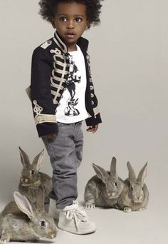Though he was hesitant at first, Quinoa finally convinced her friend Ellipses that a signature military jacket is fine, but a rabbit entourage commands respect. #MIWDTD