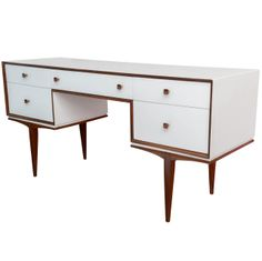 1stdibs | Vintage Danish Modern Teak and White Lacquered Writing Desk Vanity