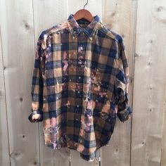 Distressed flannel shirt, brown blue plaid, grunge clothing, hipster clothing, oversized vintage soft, large gender neutral upcycled clothes by RestoredRose on Etsy