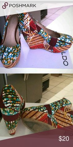 Fancy feet! Amazing ethnic print wedges by Aldo Size 9 Shoes Wedges