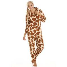 Camille Womens Luxury All In One Brown Giraffe Print Onesie Fleece Pyjama Onesie  Pajamas f87843a8e