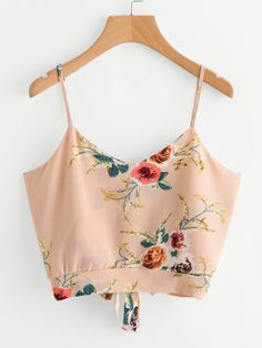 Shop Floral Print Random Split Tie Back Cami Top online. SheIn offers Floral Print Random Split Tie Back Cami Top & more to fit your fashionable needs. Cami Tops, Cami Crop Top, Vest Tops, Cropped Cami, Crop Blouse, Crop Tank, Camisole Top, Floral Crop Tops, Striped Crop Top