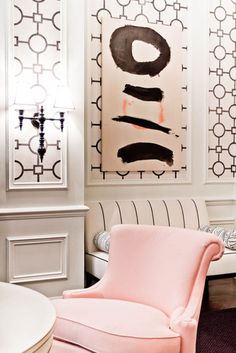 The Decorista-Domestic Bliss: office space of the day...Peach + Pink Tobi Fairley