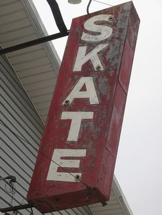 old red skate sign