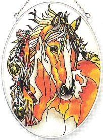 Amia Hand Painted Glass Suncatcher with Feathered Headress Horse Design, 5-1/4-Inch by 7-Inch Oval by Amia. $13.35. Amia glass is a top selling line of handpainted glass decor. Known for tying in rich colors and excellent designs, Amia has a full line of handpainted glass pieces to satisfy your decor needs. Items in the line range from suncatchers, window decor panels, vases, votives and much more.. Save 30% Off!
