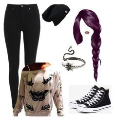 """""""dragon"""" by evakibeautiful on Polyvore featuring Lime Crime and Converse"""