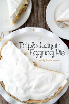 This Triple-Layer Eggnog Pie is the answer to your holiday dessert needs. It delivers the quintessential holiday flavors of eggnog we all look forward to. Christmas Sweets, Christmas Desserts, Holiday Treats, Holiday Recipes, Christmas Foods, Christmas Recipes, Christmas Time, Xmas, Eggnog Pie