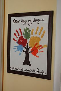 Handprint Tree mothers day, family trees, famili, family projects, handprint art, hand prints, family crafts, art projects, kid