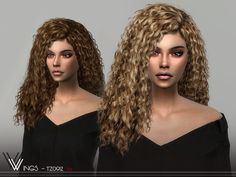 wingssims' WINGS-TZ0912 Sims 4 Curly Hair, Long Curly Hair, Curly Hair Styles, Die Sims, Sims Cc, The Sims 4 Cabelos, All Hairstyles, Female Hairstyles, The Sims 4 Download