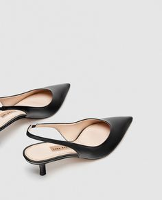 7c65210771e436 Image 7 of LEATHER SLINGBACK SHOES from Zara Slingback Shoes