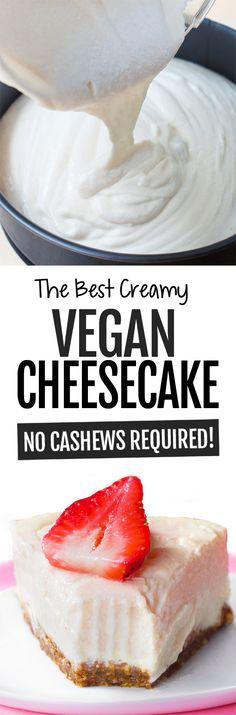 Vegan Cheesecake Recipe - NO Cashews! Vegan Cheesecake Recipe - NO Cashews! Tofu Dessert, Vegan Dessert Recipes, Baking Recipes, Vegan Tofu Cheesecake, Cheesecake Recipes, Basic Cheesecake, Brownie Recipes, Homemade Cheesecake, Vegan Treats