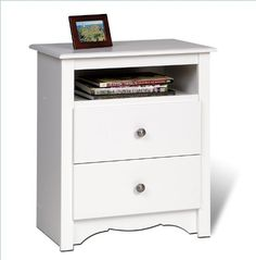 Monterey 2 Drawer Tall with Open Cubbie White for sale