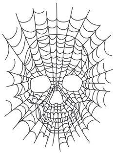 """""""Spiderweb Skull"""" Creepy spiderwebs make up a classic skull design, perfect for Halloween decor and more. Downloads as a PDF. Use pattern transfer paper to trace design for hand-stitching. - UTH6962 (Hand Embroidery) 00559339-110413-0811-4"""