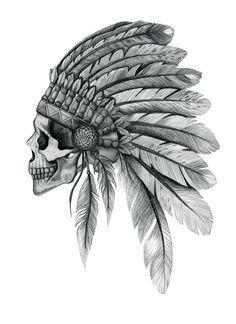 Indian Chief Skull Art Print by nzfinch Indian Head Tattoo, Indian Chief Tattoo, Indian Headdress Tattoo, Indian Skull Tattoos, Indian Tattoo Design, Native Tattoos, Native American Tattoos, Western Tattoos, Head Tattoos