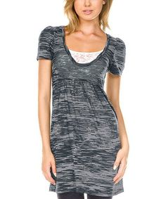 Look what I found on #zulily! Charcoal & Silver Burnout Scoop Neck Tunic #zulilyfinds