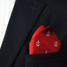 Anchor Pocket Square - Port (Red), Woven Silk