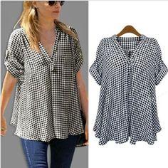Women Fashion Plus Size Loose Short Sleeve Casual