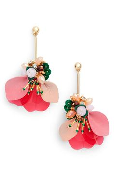Beautiful creative floral drop earrings
