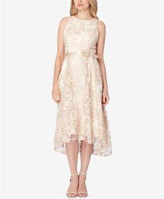 Tahari ASL Belted Embroidered High-Low Dress | macys.com