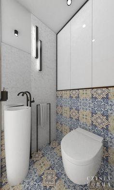 Concrete interior / Concrete bathroom / Modern bathroom / Modern interior design / Patchwork tiles / Patchwork interior / Portfolio projektowanie wnętrz lublin | Czysta forma | Projektowanie wnętrz Lublin, Warszawa Modern Interior, Concrete, Toilet, Copper, Bathroom, Scrappy Quilts, Washroom, Flush Toilet, Full Bath