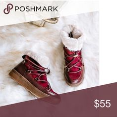 Boots with faux fur Burgundy beauties with faux fur to keep your feet warm during colder days!!! Shoes Winter & Rain Boots