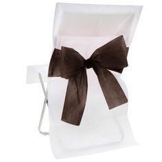 Stuhlhussen mit Schleife, Vlies (10 Stück) weiß-schwarz