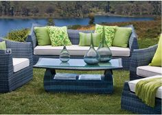 Outback Furniture: All weather wicker patio collection, Sunbrella cushions.
