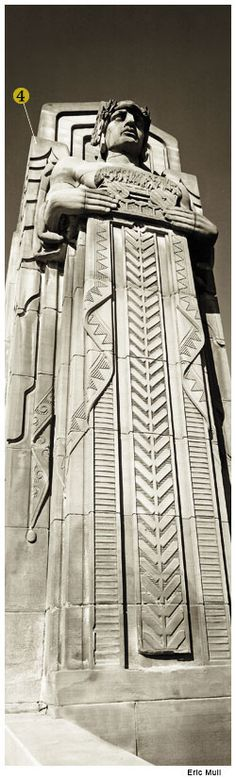 """""""The Guardians of Traffic"""" on the Lorain Carnegie Bridge in Cleveland     The bridge was designed in the 1920s and completed in 1932.  Henry Hering, sculptor, Frank Walker of Walker & Weeks, architect."""