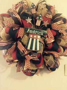 Americana Deco Mesh Wreath Made by Nathalie