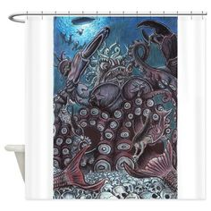 B*tches of Leviathan Shower Curtain    #krakensshowercurtainglam  #octopusshowercurtainglam