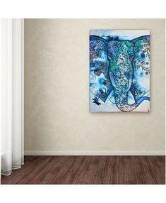 Oxana Ziaka 'Blue Elephant' Canvas Art - x x - Multi Elephant Canvas Art, Elephant Print, Lace Drawing, Byzantine Icons, Line Patterns, Baby Shop, Graphic Art, Art Pieces, Tapestry