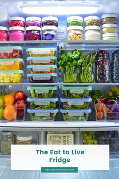 The Eat to Live Fridge Tips to help you make your fridge a tool for healthy-eating success! Learn the 12 key items for your Eat to Live fridge and get free helpful printables! Refrigerator Organization, Kitchen Organization Pantry, Pantry Storage, Organized Fridge, Produce Storage, Food Storage Organization, Small Space Organization, Whole Food Recipes, Diet Recipes