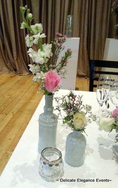 Delicate Elegance Events:  Pink Vintage Wedding - Bridal Table