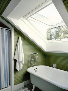 attic-bathroom. Love the windows.
