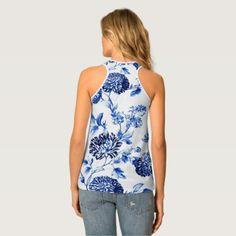 #women - #Capri Blue Floral Toile Women's Tank Top