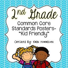 """2nd Grade Kid Friendly Common Core Standards Posters-- """"I can"""" statements written in kid friendly terms!"""