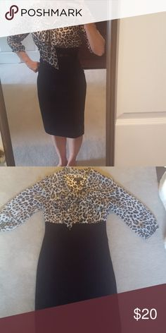 White House Black Market vintage inspired dress Leopard print top, with bow. Fitted skirt. Comes with belt. Only worn a few times, EUC! From smoke free and pet free home White House Black Market Dresses