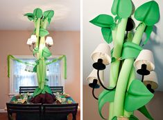 Jack's Beanstalk created with pool noodles and printable leaves! {via Piggy Bank Parties} #RedBarnFeature