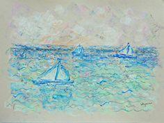 Original signed art Sailboats 12 9 x 12 by allthingsbarbara
