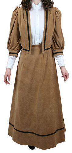 Victorian Ladies Brown Solid Suit | Dickens | Downton Abbey | Edwardian || Ladies Edwardian Suit - Caramel Moleskin