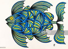 'Untitled, by Mario De Biasi, from the ''Fishes'' series, 1983, 20th Century, drawing Private collection. Whole artwork view. The subject of the drawing is a big imaginary fish seen in profile, characterized by three dorsal fins, three pectoral ones and a halved tail one; its entirety is covered with blue, light green, yellow and light blue curved lines, on which it is superimposed a blue network in the middle of the body, that symbolizes the scales. (Photo by Mario De Biasi/Mondadori…