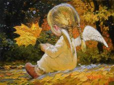 Maple Leaf Angel Girl by Victor Nizovtsev Victor Nizovtsev, I Believe In Angels, Ange Demon, Angel Pictures, Angels Among Us, Guardian Angels, Angel Art, Christmas Angels, Faeries