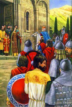 Byzantine emperor Basil II at the walls of Ohrid