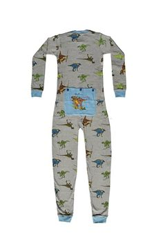 """Dinosaur Onesie Union Suit for Boys & Girls   Super soft and warm stretchable rib knit cotton union suit onesie pajamas for boys and girls in youth sizes 4 through 12.  This one piece pajama, in the classical union suit design, is grey with 5 different dinosaurs and features a T-REX on a non-functioning blue Butt Flap  """"RAWR means I love you in dinosaur"""""""