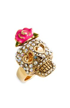 Betsey Johnson Crystal Skull & Flower Ring