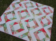 half square triangles, no sash possible here, but pretty patterns!